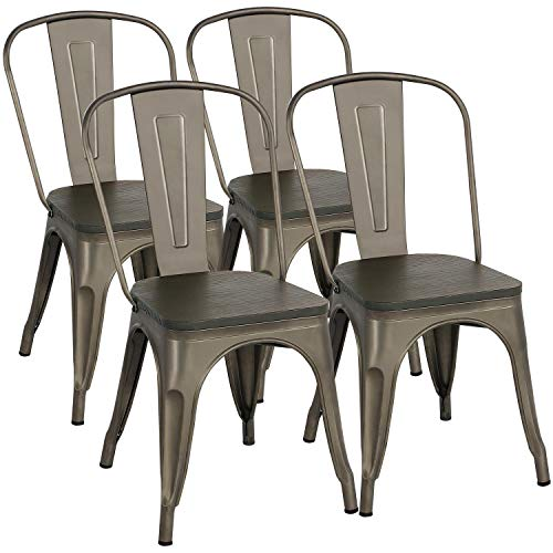 Yaheetech Metal Dining Chairs With Wood Buy Online In China At Desertcart