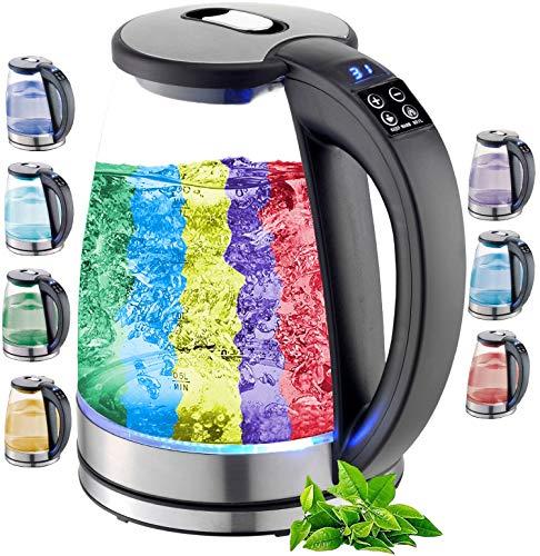 Glas Wasserkocher 1,8 Liter   2200 Watt   Edelstahl mit Temperaturwahl   Teekocher   100% BPA FREI   Warmhaltefunktion   LED Beleuchtung im Farbwechsel   Temperatureinstellung (40°C-100°C)