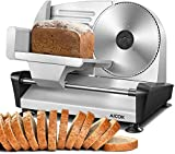 AICOK Meat Slicer Electric Deli Food Slicer with 7.5' Removable Stainless Steel Blade, Adjustable Thickness Dial(0-15mm) Cuts Meat, Cheese, Bread, Include Food Pusher and Non-Slip Feet For Home Use