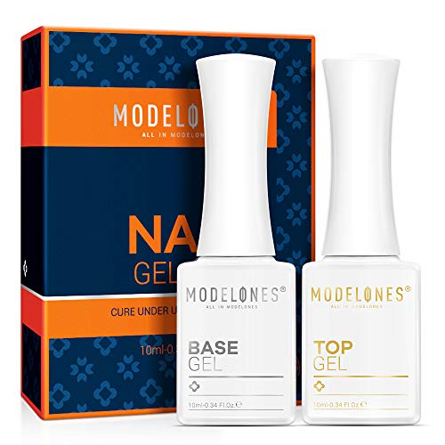 No Wipe Gel Base and Top Coat Set - 2pcs 10ml Upgraded Shine Finish and Long Lasting Formula for Gel Nail Polish, Soak Off LED Gel Base and Top Coat with New Gift Box by Modelones