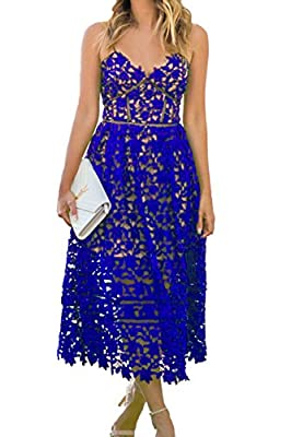 Adjustable Spaghetti Strap, Back Zipper Stand out in the super cute, elegant Hollow Lace Nude Illusion Midi Party Dress The Lace Hollow design creates a sexy front and glamorous back look Perfect for cocktail, club, prom, party and all kinds of forma...