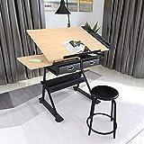 Height Adjustable Drafting/Draft/Drawing Table Desk,Artist Desk Tilted Tabletop Sketching Work...