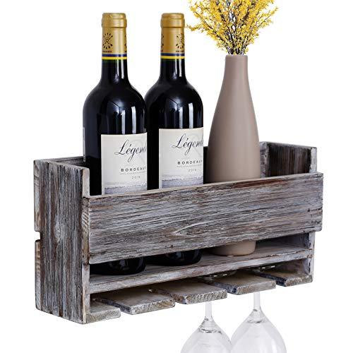 Vencipo Portabottiglie Vino Legno per 4 Calici Vino Rosso Organizer, Mensole da Muro Design per Cantinetta Vino, Scaffale Legno Vino Accessori per Sala da Pranzo, Camera da Letto e Cucina. (Grigio)