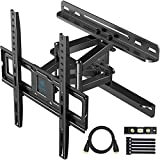 PERLESMITH TV Wall Mount Full Motion for Most 32-55 Inch TVs with Swivel & Extends 16.53 Inch - Dual 6 Arms Wall Mount TV Bracket VESA 400x400 Fits LED, LCD, OLED Flat Screen TVs up to 99 lbs