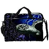 Maletín de lona para portátil de 14,5 pulgadas, con diseño de tortuga, reptil, tortuga, tortuga, reptil, tortuga, mar, burbujas, bolsa de hombro con correas desmontables