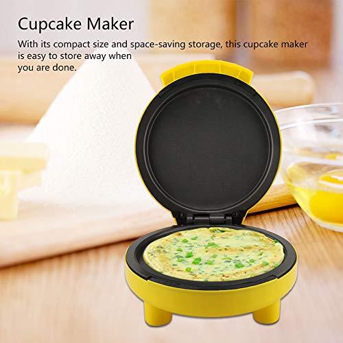 Macchina Muffin Macchina per Cupcake con Piastre Antiaderenti, Mini Macchina per Cake Pop in lega di titanio + PP, 24 * 21 * 12.5cm, Giallo