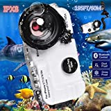 BECROWMUS Bluetooth Control iPhone 6/7/8/X/XS/XR 195FT/60M IPX8 Waterproof case Professional Diving Underwater Swimming Surfing Snorkeling House Photo Video with Wide Angle Dome Port Lens