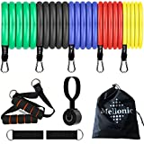 Resistance Bands Set With Handles For Men Women Working Out Exercise Fitness Workout Stretch Bands Training Tubes With Door Anchor Legs Ankle Straps for Resistance Training For Home Gym Use