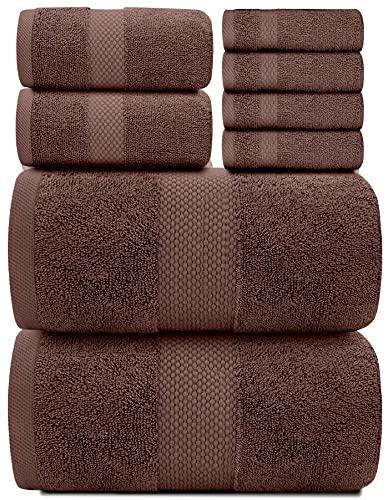 Luxury 8 Piece Bath Towel Set White - 700 GSM Combed Cotton Hotel Towels - 2 Bath, 2 Hand, 4 Wa…