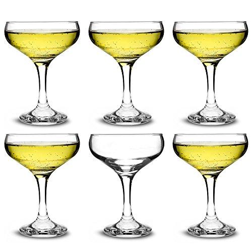 bar@drinkstuff Set da 6 ,calici da champagne in vetro e Cocktail 200 ml,in elegante confezione regalo