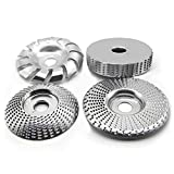 """KEEYWOLT 4 Pcs Wood Shaping Disc Set for Angle Grinder Woodworking Grinding Wheel Shaping Dish 5/8"""" Arbor"""