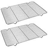 Baking Cooling Rack Set of 2, MWD Stainless Steel Metal Roasting Cooking Racks13.8'x9.4', Fits in Half Sheet Cookie Pans,Commercial Quality, Oven & Dishwasher Safe
