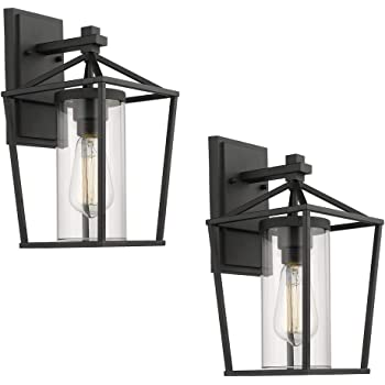 Emliviar Outdoor Porch Lights 2 Pack Wall Mount Light Fixtures Black Finish With Clear Glass 20065b1 2pk Amazon Com