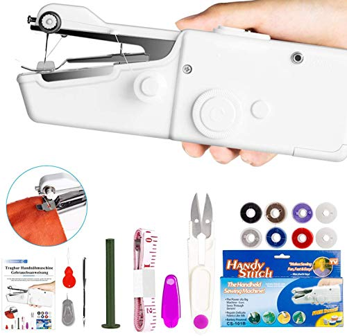 Xpassion Mini Macchina da Cucire Portatile, DIY Handheld Cordless Strumento di Cucitura Rapida, AA...