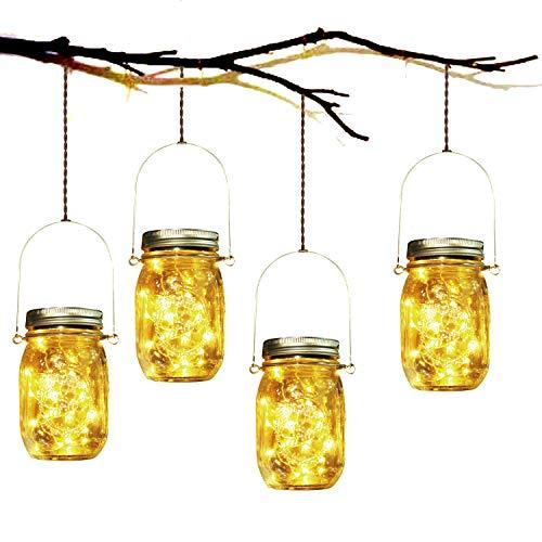 Solarlampe, SUNNOW 4 Stück Solar Mason Jar Licht LED Solar Licht Einmachglas Laterne Solarleucht für Außen Garten Deko, Weihnachtsferien Einmachgläser Wasserdichte Garten Hängeleuchten (Warmweiß)