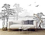 SILK ROAD EU™ Papier Peint Soie Panoramique Esquisse noir et blanc, 350 × 250cm, 3D Poster Geant Mural Personnalisé, abstrait arbre minimaliste, pour Salon Chambre restaurant Décoration Murale