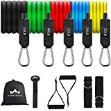 150LB Exercise Bands with Handles, Ankle Straps, Door Anchor and Guide Book - for Men Women Home Workouts and Resistance Training