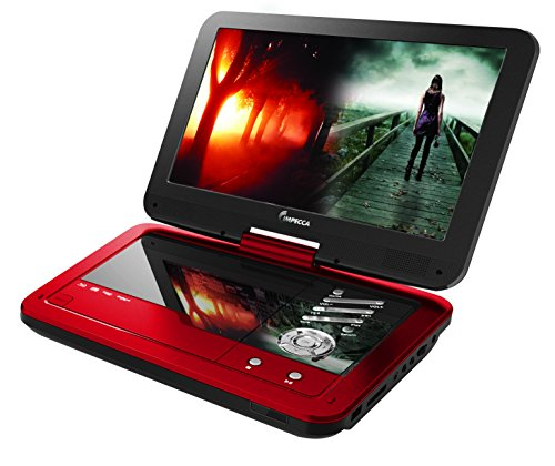 Impecca 10.1 Inch Portable DVD Player- Red DVD Player with 6 Hour Rechargeable Battery and Swivel Screen, Rechargeable DVD Player (Red)