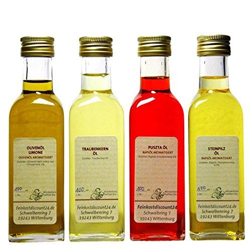 Geschenkset | 4 x 100 ml Öl | Steinpilz Öl - Olivenöl Limone - Puszta Öl - Traubenkern Öl