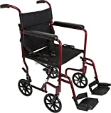 "ProBasics - KTA1916SA-BG Aluminum Transport Wheelchair - 19"" Wheel Chair Transport Chair - Burgundy"