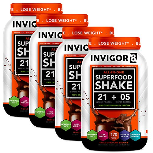 INVIGOR8 Superfood Shake(4 Pack Chocolate) Gluten-Free Non GMO Meal Replacement Grass-Fed Whey Protein Shake with Probiotics and Omega 3 1