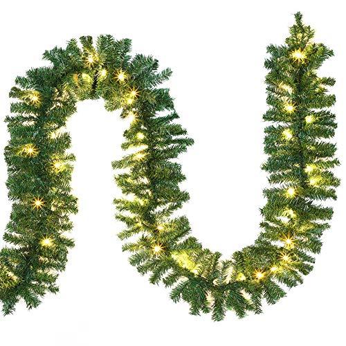 Casaria Guirnalda de Navidad para barandilla puertas ventanas árbol de navidad chimenea 5m 100 luces LED decoración