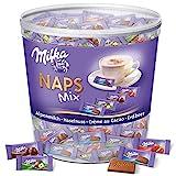 Milka Naps Mix - Assortiment de Chocolat au Lait du Pays Alpin : Chocolat au Lait, Crème Cacao, Noisettes, Fraise - Tubo d'1 kg