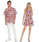 Couple Matching Hawaiian Luau Cruise Outfit Shirt Tank Dress Classic Vintage Hibiscus Red Men L Women S