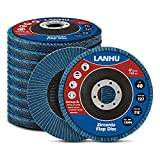LANHU,Zirconia Flap Disc   4.5' x 7/8-Inch   40 Grit Flat Type Fiber Glass Wheel Flat Type #27 Grinder  10 Pack)