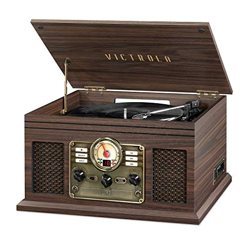 Victrola Nostalgic 6-in-1 Bluetooth Record Player & Multimedia Center with Built-in Speakers - 3-Speed Turntable, CD & Cassette Player, AM/FM Radio   Wireless Music Streaming   Espresso