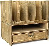 Wooden Vertical Letter Tray Desk Organizer - Brown