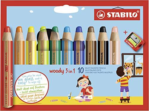 Matita colorata Multi-Funzione - STABILO woody 3 in 1 - Astuccio da 10 - con Temperino - Colori...