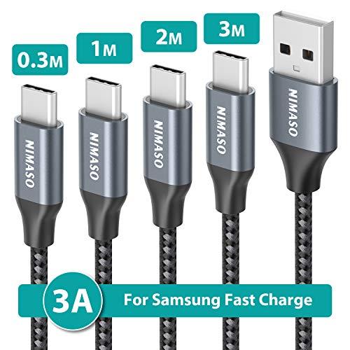 NIMASO Cavo USB C [4 Pezzi: 0.3M+1M+2M+3M], Cavo USB Type C Ricarica Rapida e Trasmissione Intrecciato Compatibile per Samsung Galaxy S10 S9 A50,Huawei P20 P10 Mate 20,Google Pixel,Sony Xperia XZ Ecc