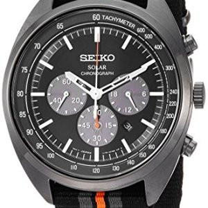 Seiko Men's RECRAFT Series Stainless Steel Japanese-Quartz Watch with Nylon Strap, Black, 21 (Model: SSC669) 22