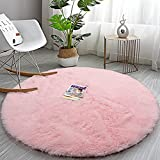 Soft Round Area Rug for Girls Bedroom, 5 ft Pink Circle Rug for Nursery Room, Fluffy Carpet for Kids Room, Shaggy Area Rug for Living Room, Room Decor for Teen Girls, Furry Shag Rug for Baby