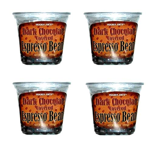 Trader Joes Dark Chocolate Covered Espresso Beans Bulk Pack of 4 Containers - 14 oz Per Container - 56 oz total