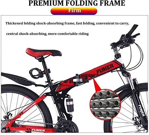 Product Image 3: Road Bikes Mountain Bikes for Adults,Foldable MTB Ebikes for Men Women Ladies, All Terrain 24/26inch Mountain Bike ,Small Space Storage Folding Bicycle Comfortable Seats (Color : Black Blue, Size :