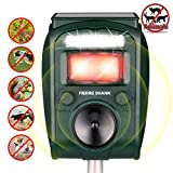 Fierre Shann Ultrasonic Animal Repeller with Solar Charged, IP44 Waterproof, Motion PIR Sensor and Flashing Lights for Rabbits, Raccoons, Squirrels, Cats, Dogs, etc.