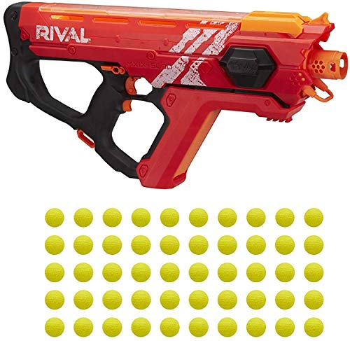 NERF Perses Mxix-5000 Rival Motorized Blaster (Red) -- Fastest Blasting Rival System, up to 8 Roundsper S -- Rechargeable Battery, Quick-Load Hopper
