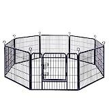 FEANDREA Parque para Mascotas Perros Corral Plegable para Juego Entrenamiento 8 Piezas combinables Negro 77 x 60 cm PPK86H