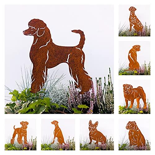 Gartenstecker Edelrost Hund Pudel Handmade Germany, Höhe 30cm tolle gartendeko aus Rost-Metall, deko rostoptik, Rostfiguren Tiere, rostfiguren Garten, Rostdeko