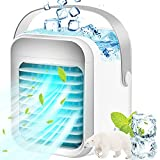 Portable Air Conditioner Cooler, Noiseless Evaporative Air Fan Rechargeable USB Desk Fan, 3 Speeds, 7 Color Night Light Waterbox, Office Cooler Humidifier & Purifier for Home Dorm Bedroom