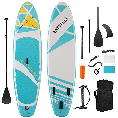 ANCHEER Stand up Paddle Board, SUP Gonfiabile con pagaia, Pompa a Mano a Doppio Colpo, Cinturino alla Caviglia, Zaino
