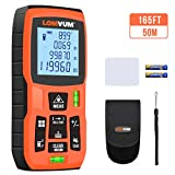 LOMVUM Laser Measure 165Ft Mute Laser Distance Meter with 2 Bubble Levels, LCD Backlit Display and Measure Distance, Area and Volume, Pythagorean Mode Battery Included