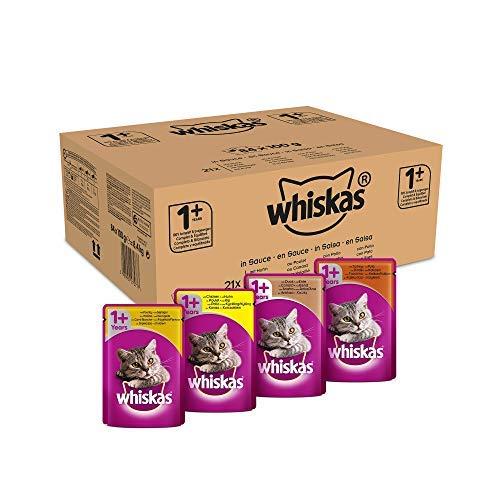 Whiskas Selezione in Salsa 84 Buste da 100 gr al Gusto di Pollo, Anatra, Tacchino e Carni Bianche
