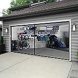 Garage Door Screen for 2 Car Garage with Zipper - 16 x 7 FT Durable Heavy Duty Fiberglass Mesh Enjoy Breeze Bottom Weighted Cover Net for Double Garage Car Door Patio Workshop