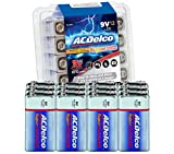 ACDelco 12-Count 9 Volt Batteries, Maximum Power Super Alkaline Battery, 7-Year Shelf Life, Recloseable Packaging