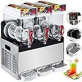 Happybuy 110V Commercial Slushy Machine 15L x 3 Tank Frozen Drink Machine 500W Commercial Margarita...