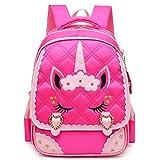 Moonmo Cute Unicorn Face Diamond Bling Waterproof Pink School Backpack Set Girls Book Bag (Large, Rose)