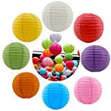 8PCS Colorful Round Paper Lanterns Chinese Lanterns Hanging Decorations Ball Lanterns for Halloween Birthday Bridal Wedding Baby Shower Party Parties (8'', Multicolor)